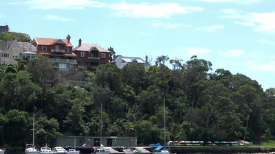 Sydney Ferries 3 Mosman Bay - where we lived behind the tall trees to right!