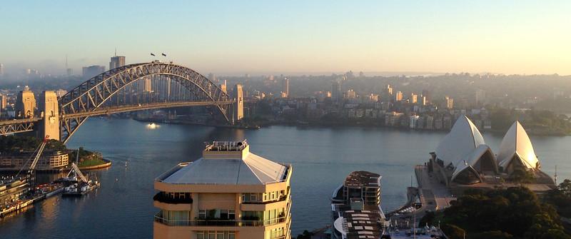 Sydney Harbor Bridge and Sydney Opera House from the Intercontinental Sydney Lounge