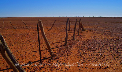 Stockyard in a gibber stone plain