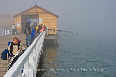 Sleeping in the fog, fishing from Queescliff Pier, Victoria