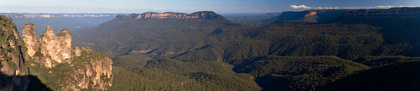 View from Echo Point<br /> <br /> This is a stitch of 4 shots taken from Echo Point.  It is one of the more spectacular views you'll see in the Blue Mountains.  Here you can see the Three Sisters, Mt Solitary, Mt Jellore, the Ruined Castle, and everything in between.  The light here is fantastic.  This was shot in late afternoon.