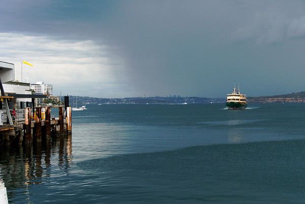 Sydney Ferry, Manly Wharf<br /> <br /> The rain was just starting as the Queenscliff Ferry came in to Manly.