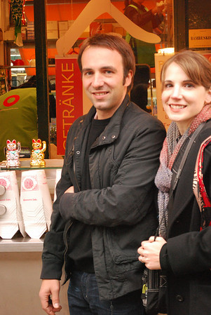 Marc and Linda with the lucky cats
