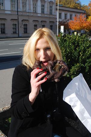Christine and the chocolate pretzel