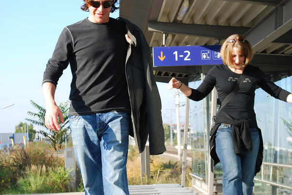 Brian and Linda walkin' the rails.
