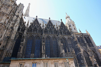 St. Stephen's Cathedral, Vienna. The church caters to tour groups and tolerates a constant flow of visitors in peak season.