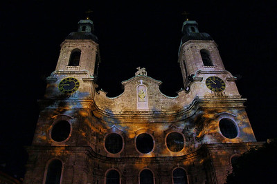 St. James Cathedral, Innsbruck at night.