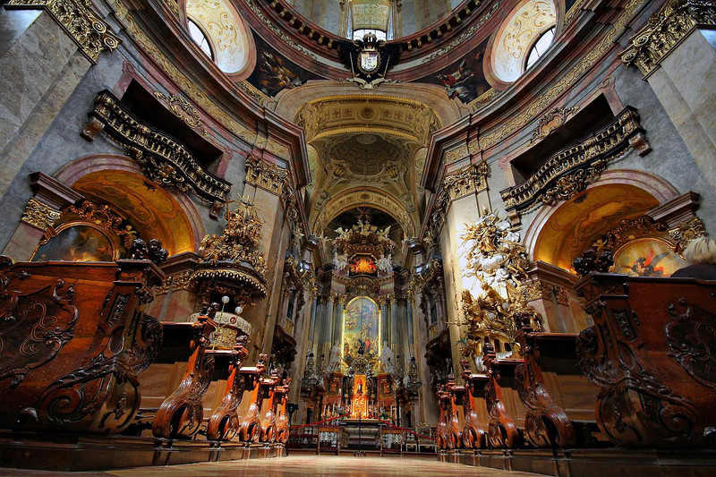St. Peter's Church, Vienna. Built in classic Baroque styling and finished in 1733.