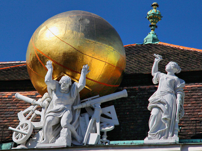 Statues on roof of the Prunksaal-the National Library of Austria.