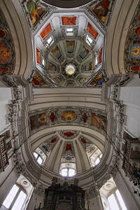 Salzburg Cathedral. The left and right side domes are of similar designs, but with subtle differences.