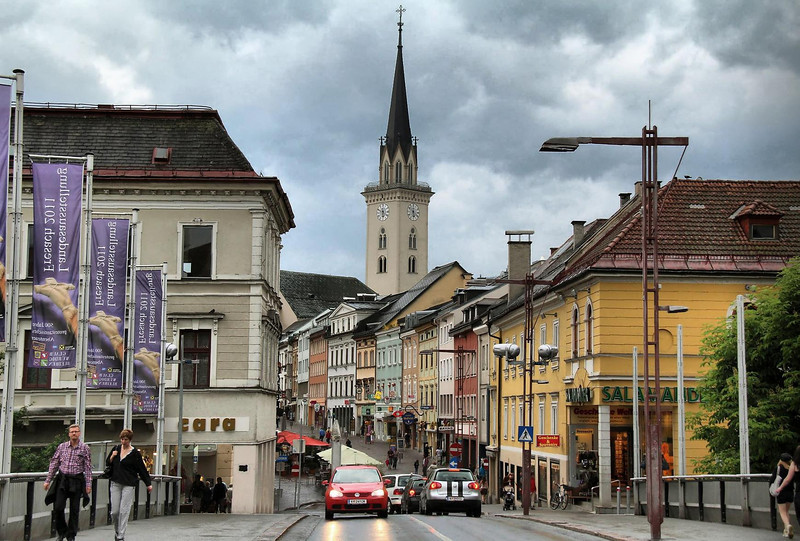 Villach, Austria in late afternoon.