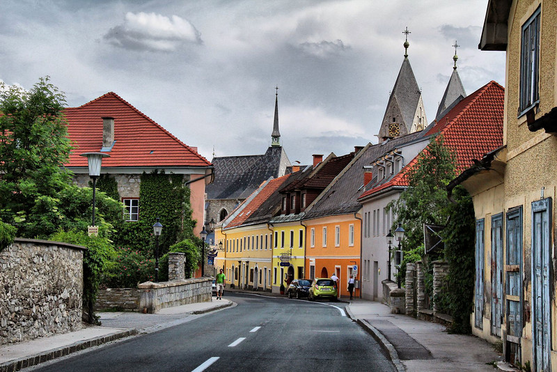 Main road into the small town of Friesach, Austria. Heavy HDR editing was used to create the painted look.