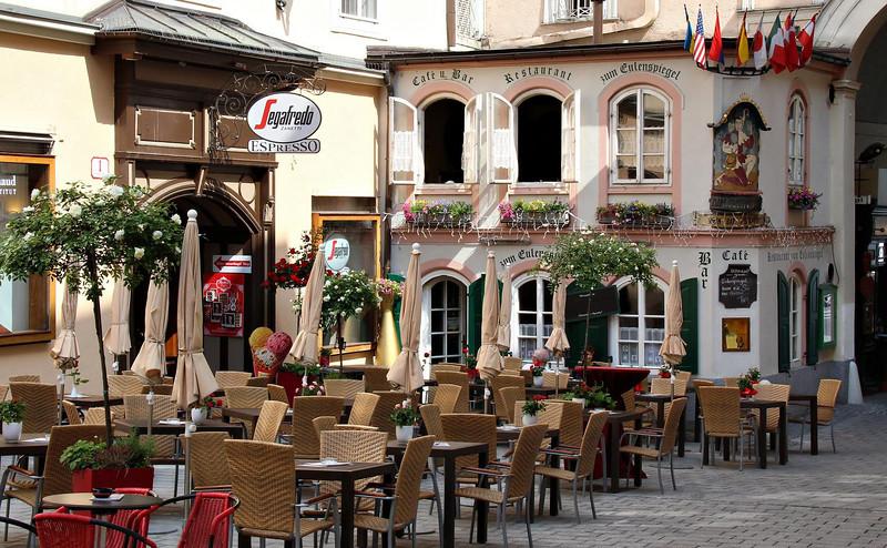 Street cafe in Salzburg, Austria.