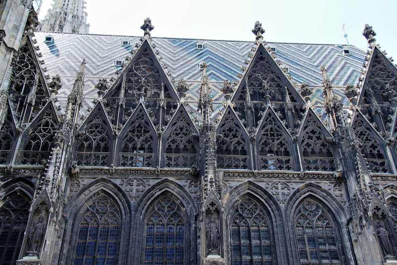 St. Stephen's Cathedral. The colorful tile roof was installed during the reign of the Hapsburg family in the 1800's.