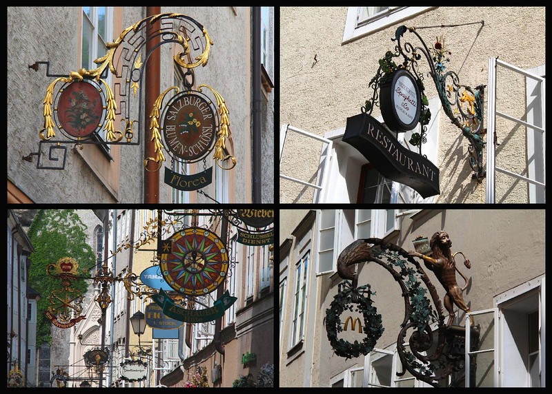 Composite of street signs seen in Salzburg, Austria.