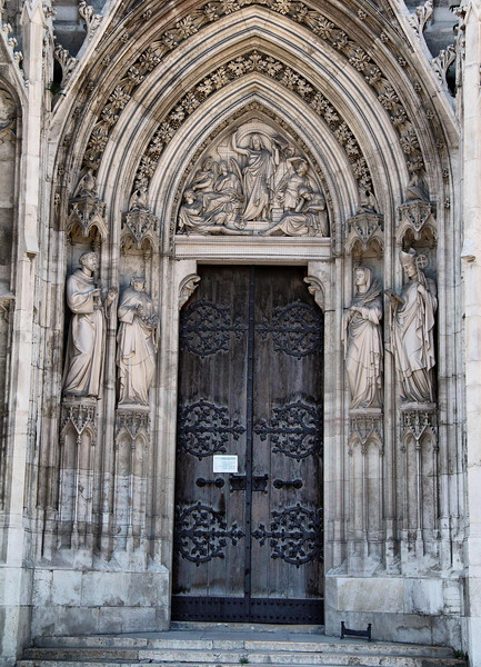 Votivkirche, Vienna. It's facade is made of soft white limestone, which is easily damaged by pollution and weathering.