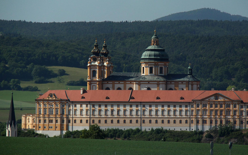 Melk Abbey from the highway into Vienna, Austria