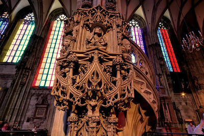 side pulpit and stairs in St. Stephen's Cathedral, Vienna.