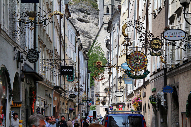 The major shopping corridor of Aribonen Street in Salzburg, Austria.
