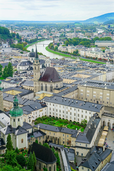 Salzburg city from high point of view in Salzburg Fort and castle