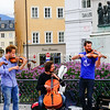 Mozart statue in Mozart Square, Salzburg