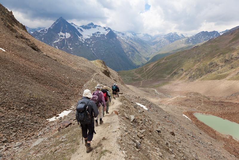 Dropping via the glacial moraine path