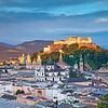 Salzburg, Austria. Image of Salzburg cityscape during summer sunset.