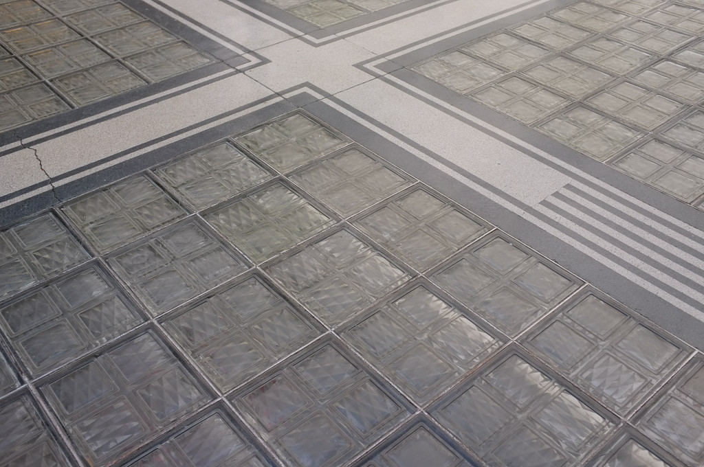 Vienna, Austria 2014. Glass tile floor, to give light to the postal sorting room below ground. Interior, Wagner's Postal Savings Bank 1906.