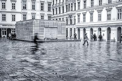 Rainy Memorial  Judenplatz Holocaust Memorial, Vienna, Austria.