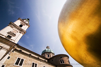 Modern art vs. classic architecture.  Salzburg, Austria.