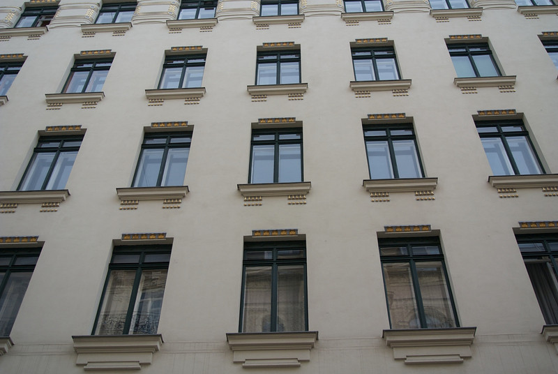 Vienna: Apartment block, window detail, by Otto Wagner