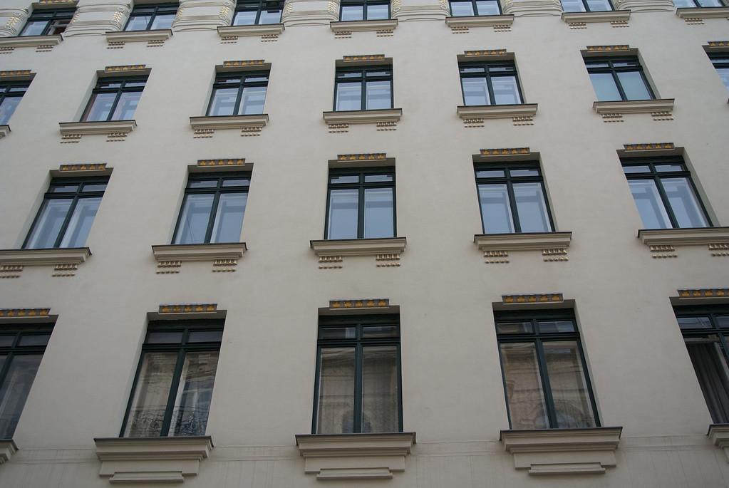 Vienna: Apartment block, window detail, by Otto Wagner