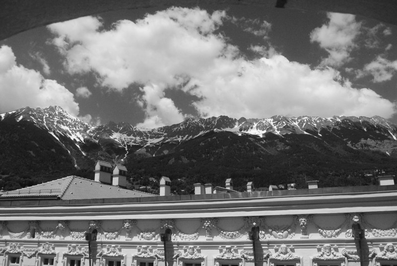 Innsbruck: View from hotel window in b&w