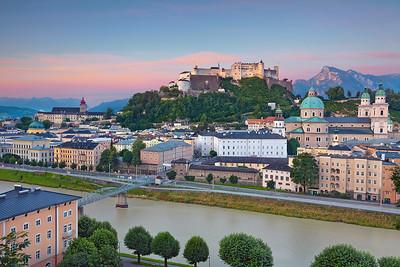 Salzburg, Austria. Image of Salzburg during twilight blue hour.