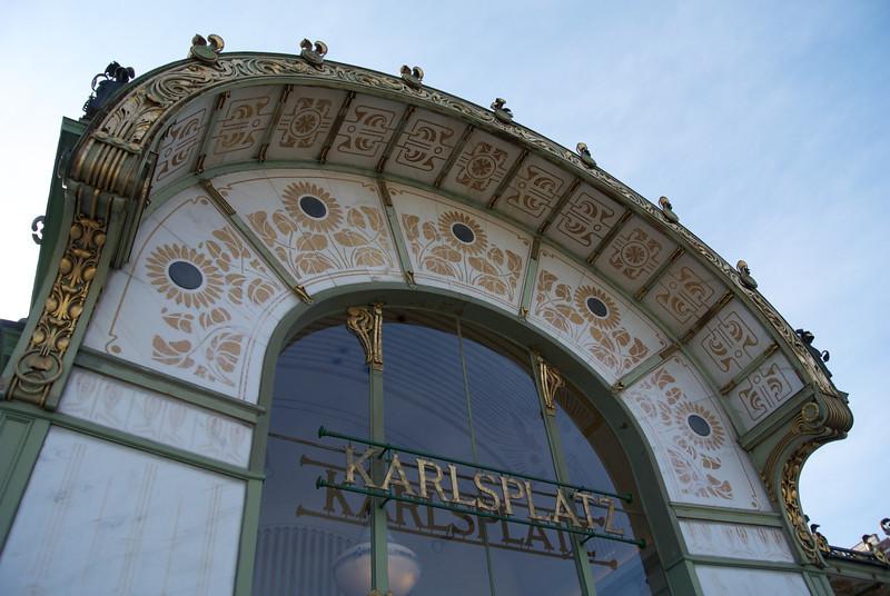 Vienna: Wagner's Karlsplatz underground station, detail, 2012