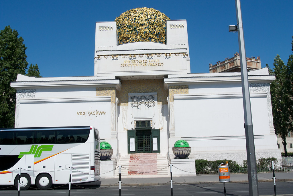 Vienna: The Secession Building, with matching bus