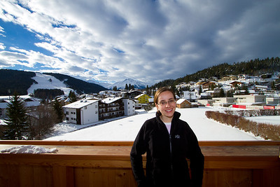 Margaret on Our Hotel Balcony at Seelos Hotel, Seefeld