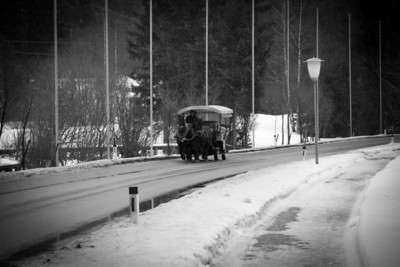 Traditional Public Transport on the Road to Seefeld; Horse and Cart - Christmas Eve 2010