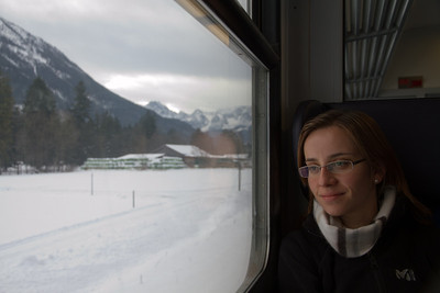 Margaret on Train to Seefeld