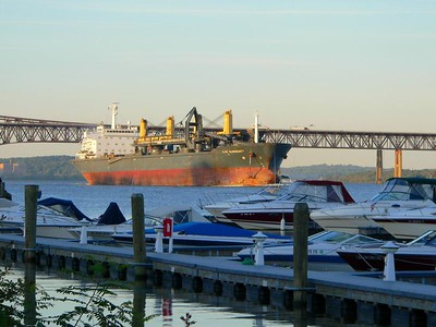 Freighter heading south on the Hudson passing the Newburg waterfront development.
