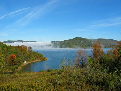 Morning fog and mist on the Cannonsville reservoir.