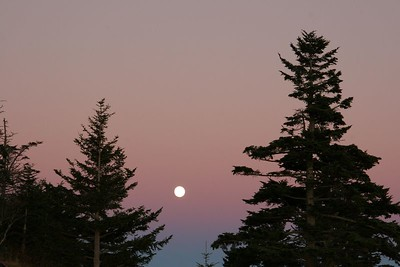 Moon rising over Clingman's Dome in Great Smoky Mountain NP.