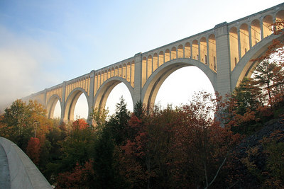 Tunkhannock Viaduct. 2375 ft. long and 240 ft. above Tunkhannock Creek. Built in 1915 out of reinforced concrete by the Delaware Lackawanna RR. Now owned and still used by Canadian Pacific Rail.