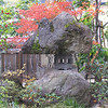 "Iwata garden; Yamagata City; October 2007<br /> <br /> I had never seen this style of lantern before, with natural stones on the top and bottom. I learned that this is a ""country-style"" lantern that you can see around Tōhoku."