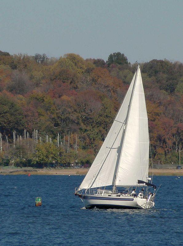 "Sailboat ""Rhapsody"" in Hempstead Harbor."