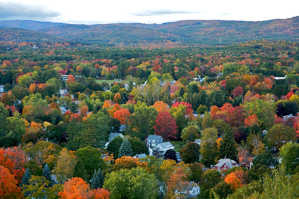 A view of the houses of Greenfield, and the mountains beyond, from the top of the Poet's Seat Tower.