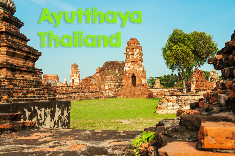 Ayutthaya, Thailand.<br /> <br /> Ayutthaya is a city in Thailand, about 80 kilometers north of Bangkok City and it was the capital of the Kingdom of Siam, a prosperous international trading port, from 1350 until razed by the Burmese in 1767. The ruins of the old city now form the Ayutthaya Historical Park, an archaeological site that contains palaces, Buddhist temples, monasteries and statues.