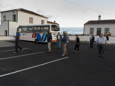 The group making its way to the restaurant in Santo Espirito