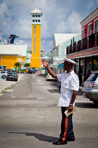 NASSAU POLICEMAN DIRECTING TRAFFIC