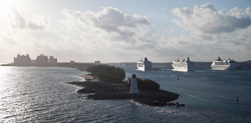 APPROACH TO THE NASSAU CRUISE PORT WITH A VIEW OF PARADISE ISLAND AND THE ATLANTIS RESORT